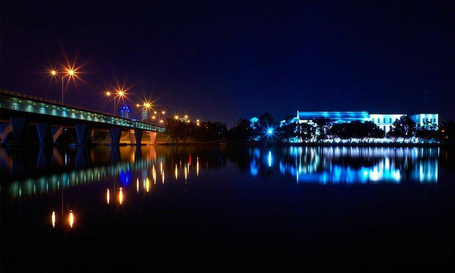 East Perth Power Station and Windan Bridge at night