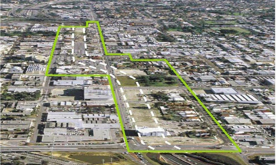 New Northbridge project area before development (green outline) and the Northbridge Tunnel footprint (white outline)