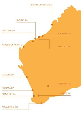 Map of Western Australia's Strategic Industrial Areas