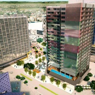 Artist Impression Of 250 Room Dorsett Hotel And Apartment Building At Perth City Link