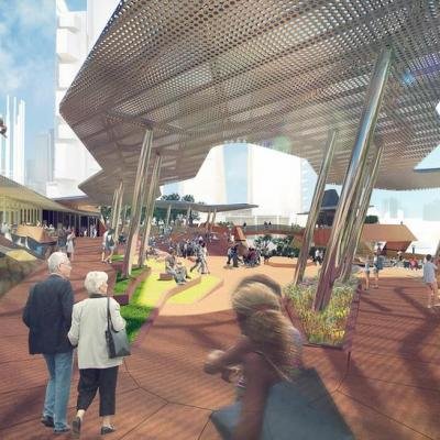 Yagan Square Artist Impression Upper Level View West To Amphitheatre