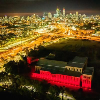 Power Station And Cbd At Night Red Lighting